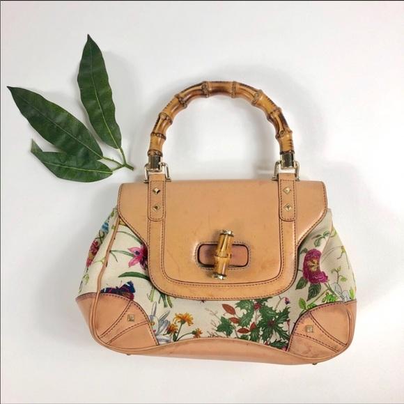 4b4037860 Gucci Bags | Botanical Flora Canvas Bamboo Flower Handbag | Poshmark